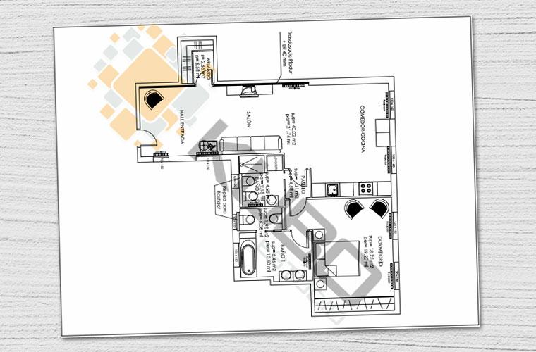 Proyecto de interiorismo en la reforma de un piso en Madrid, con propuesta y detalles para el diseño de interiores.
