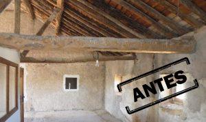 Reforma integral de casa rural en Segovia con arreglo de tejado y buhardilla, antes