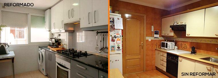 Cocina antes y después de una reforma integral.