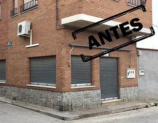 Reforma integral de local comercial en Madrid franquicia de Bar Gourmet, ubicación de la fachada antes de la reforma