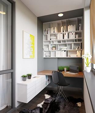Reforma de piso con cerramiento de terraza para aprovechar el espacio como pequeña oficina.
